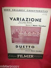 MARIO CAVALLARI Variazione + Duetto 1952 Spartiti VALZER/MAZURKA