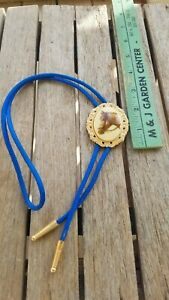 Vintage Gold Tone Bolo Tie Western Horse With Blue Cord