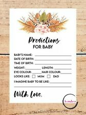 Baby Shower Game - 10 x BABY PREDICTION CARDS - 14X10CM BABY UNISEX BOHO FLORAL