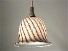 70er Jahre Doria Glas Glocke Pendel Leuchte Cappuccino farben#2 vintage Lampe
