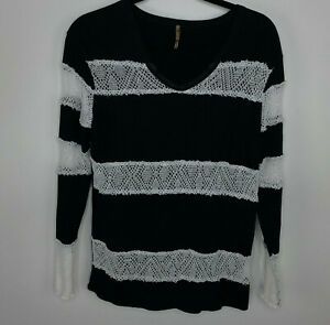 Anthropologie Pete Womens Size Small Lace Black White Stripe long sleeve top