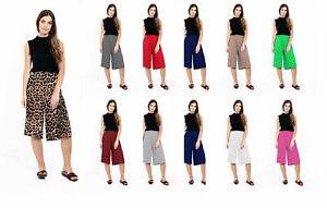 WOMEN 3/4 WIDE LEG SHORT PLAZZO PANTS CASUAL LADIES LOOSE CAPRI TROUSERS