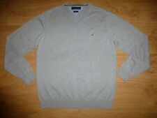 Men's Tommy Hilfiger Thin Heather Grey V Neck Cotton Jersey Jumper Top Size M