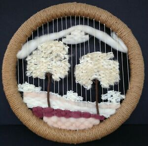 Vintage Woven Wall Hanging Art Trees Wool Round Jute Wrapped Frame Boho Mod