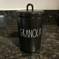 "New RAE DUNN ""GRANOLA"" 8.5"" Black Canister Cookie Jar LL By Magenta 2020 Release"