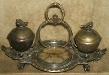 1800's Ornate Silver Desk Double Inkwell