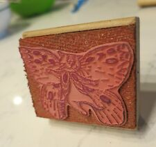 rare Edward Gorey Rubber Stamp (Inka Dinka Do 1981) Cat Butterfly, NICE!