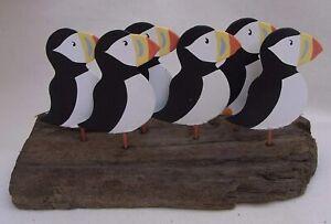 Nautical / Coastal Flock of Puffins on Driftwood Base Decoration * Seaside Decor