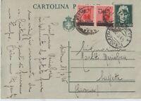 1945 COPPIA 1,20L SU INTERO POSTALE 60C DA SASSETA LIVORNO X DISTRETTO