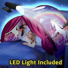 Kids Dream Bed Tents with LED Light Included Foldable Playhouse Stars Moon