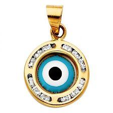 14K Tri Color Gold CZ Evil Eye Charm Pendant GJPT1332