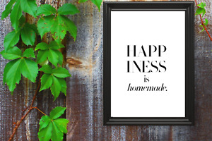 Motivational print,3,poster,inspirational,happiness is homemade, black text