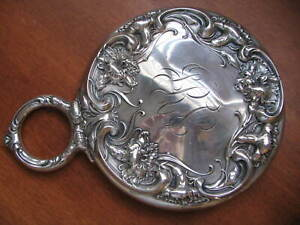 Wallace Sterling Carnation Repousse Hand Mirror 1900