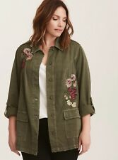 eb0d16a4cea Torrid Olive Green Floral Embroidered Twill Shirt Jacket 1X 14 16  43649