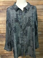 Catherines Blue Print Button Top Size 5X 34/36W Roll Tab Long Sleeve New