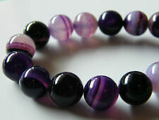 40pcs 10mm Round Natural Gemstone Beads - Purple Agate