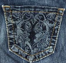 Vtg BUCKLE BIG STAR Denim Jeans CASEY BOOT EMBROIDERED POCKET Stretch 25R  ✡V