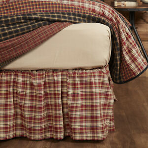 VHC Brands Rustic Queen Plaid Bed Skirt Red Gathered Beckham Split Bedroom Decor
