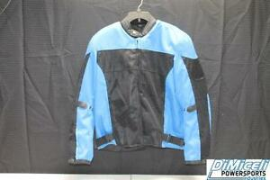 NEW EXTRA LARGE XL BLUE POLYESTER MESH ARMOR MOTORCYCLE JACKET*JACKET RUN SMALL