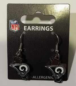 Los Angeles LA Rams Football NFL State Design Charm Silver Dangle Earrings Set