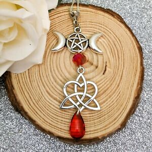 Handmade Silver Tone & Red Wicca Triple Moon Triquetra Heart Pendant Necklace