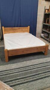 Handmade Solid Low Foot Plank Bed In Kingsize - Light Oak
