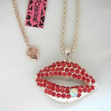 Betsey Johnson Sexy Red Lips Rose Gold Pendant Chain Necklace Free Gift Bag