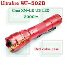 Red Case UltraFire WF-502B Cree XM-L2 U3 2000LM 5-Modes L2 Led Flashlight Torch