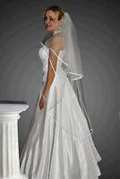 Wedding Veil on Comb Knee Length Satin Edge W-21