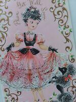UNUSED Vtg PINK Dress GIRL & Black POODLE Get Well Embossed GREETING CARD