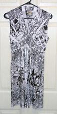 One World Stretch Pattern Empire Waist White Black Midi Dress Sleeveless PM NWOT