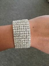 Womens new diamonte crystal sparkly Cinderella bracelet silver cuff