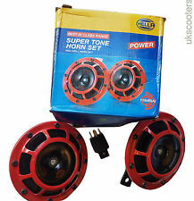 ukscooters HELLA RED SUPER TONE HORNS TWIN HORNS 118DB 12V GENUINE CAR SCOOTER