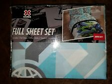 X Games Sheet Set Full size 4 pc Bedding Extreme Skateboard BMX Blue New
