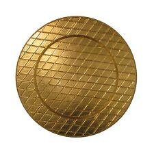 "13"" Diameter Round Plaid Gold Tartan Plaid Charger Plates, Golden Color"