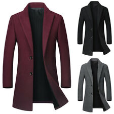 Men Winter Trench Coats Single Breasted Warm Outwear Long Jacket Casual Overcoat
