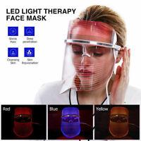 3 Colors Photon Facial Mask LED Mask Skin Rejuvenation Therapy For Wrinkles
