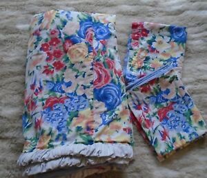 Vintage handmade floral denim reversible FULL QUEEN? duvet & pillow cases