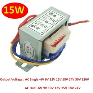 15W EI57 Power Transformer 220V/380V To 6V/9V/12V/15V/18V/24V AC Single/Dual