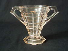 Mini Open Sugar Bowl TEA ROOM PINK Indiana Glass Depression Art Deco EUC