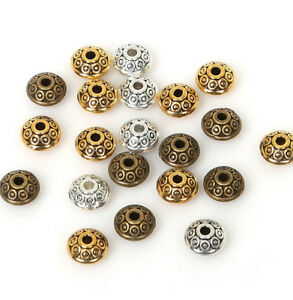 60PCS/Lot 6mm Alloy Metal UFO Shape Spacer Beads Bracelet Making Jewelry DIY