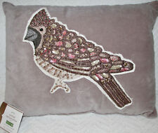 Pottery Barn Jeweled Cardinal Applique Pillow ~12 X 16 ~ Winter ~ Cute Accent