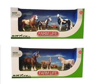 Farm Life New Plastic Horses Pack of 3 Toys Children Toy 3+ Years Old