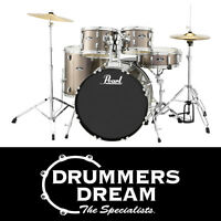 "Pearl Roadshow 5pce 22"" Drum Kit Gig Ready w/Cymbals & Hardware -Bronze Metallic"