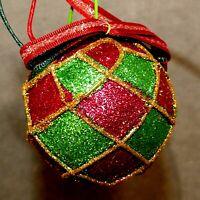 Christmas Ornament Ball Shatter Proof HARLIQUIN Red Gold Green ( 6 ) USA SELLER