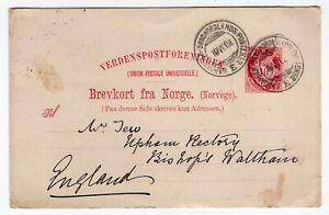 Norway 1902 UPU Stationery Postcard - Sent to England - CDS Cancel -