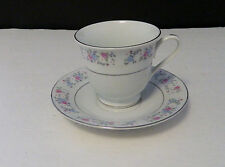 New listing F.T.D.A. 1987 China Cup and Saucer Platinum Trim Pink and Blue Roses