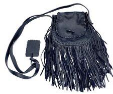 "Polo Ralph Lauren Black ""Buckskin"" Leather Fringe Boho Western Crossbody Bag"