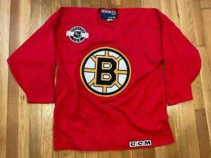 RARE Vintage 90's CCM Made in Canada NHL Boston Bruins Practice Jersey Red Large