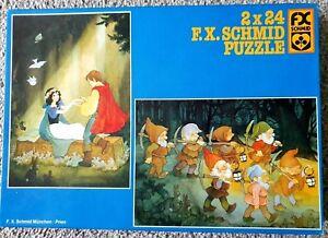 2 X 24 Piece F.X.SCHMID Children's Puzzle Sleeping Beauty Seven Dwarfs